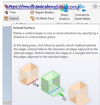 inventor extend surface command