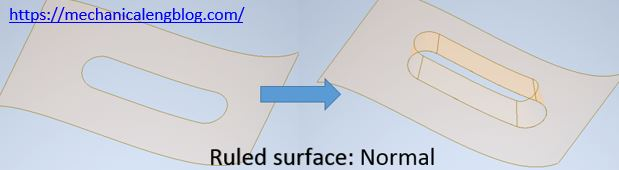 inventor ruled surface normal option