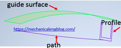 inventor sweep a profile along a path and guide surface