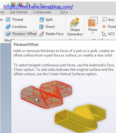 inventor thicken offset command icon