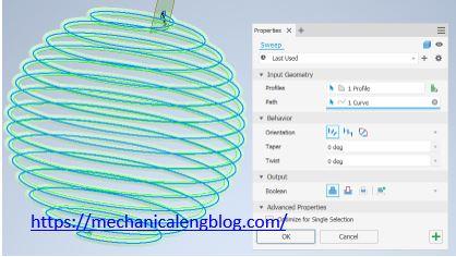 sweep circle around sphere curve