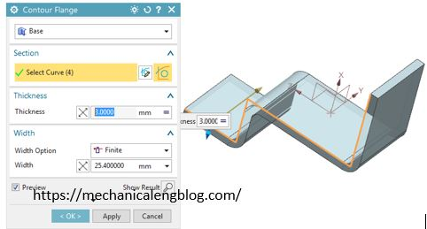How to use nx sheet metal contour flange command