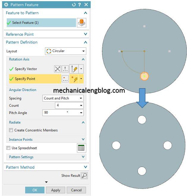 create a circular pattern feature in nx
