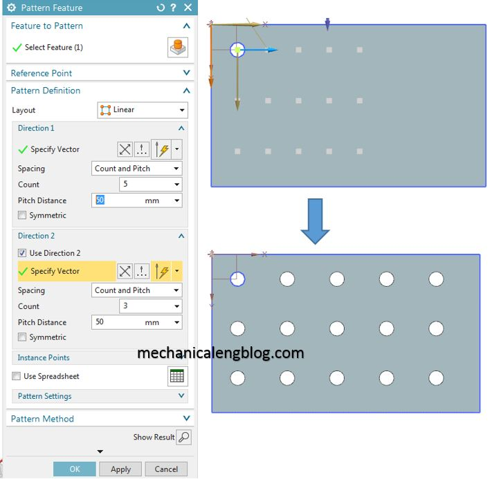 create a linear pattern feature in nx