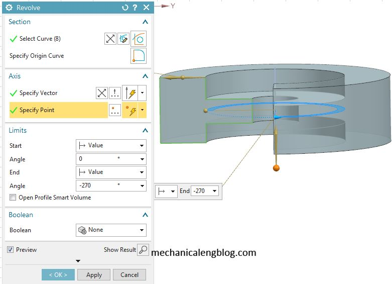 create feature vith siemens nx revolve command