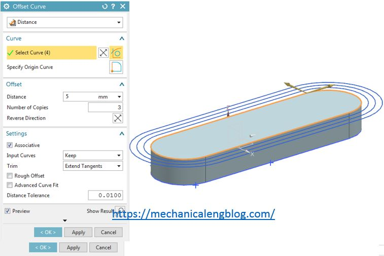 siemens nx use distance offset curve command