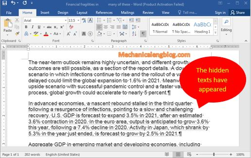 Review hidden paragraph in Word