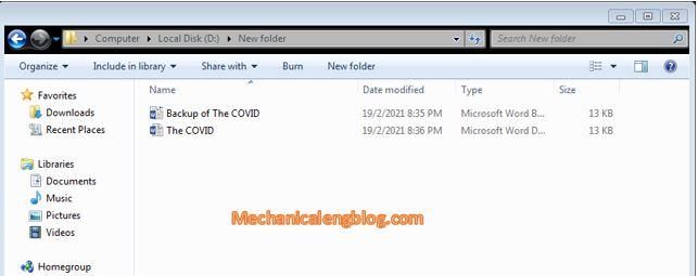 folder for backup file in word