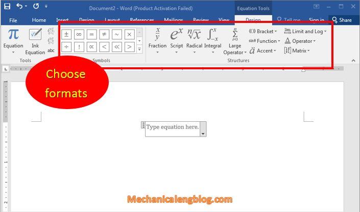 insert Equation types