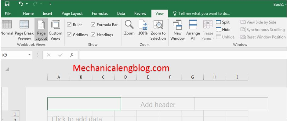 insert Header and Footer for Excel