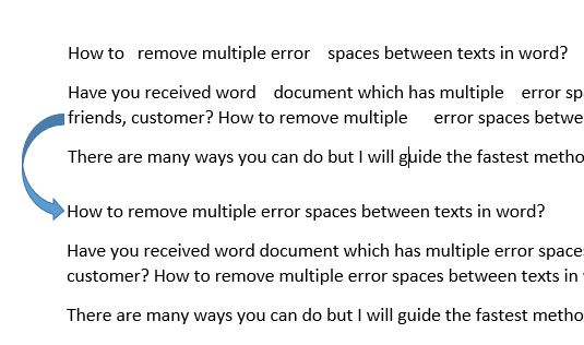 remove multiple error spaces between texts in word