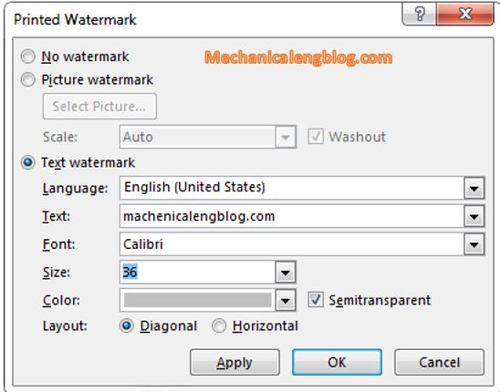select option for watermark