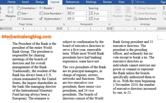 split 3 columns in Word