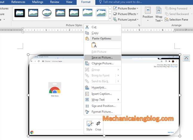 take screenshot in word document 4
