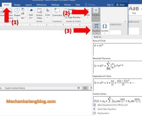 word-insert-Equation