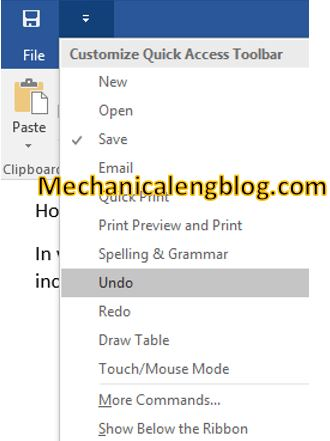 word-quick access toolbar