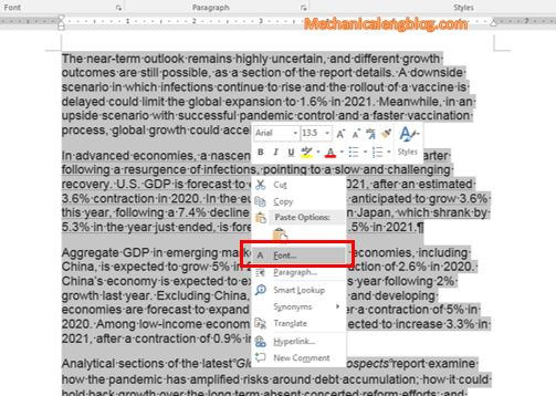 word select document front option