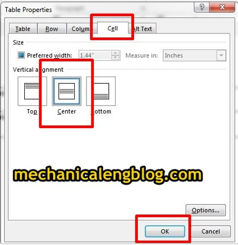 word table properties dialog cell option