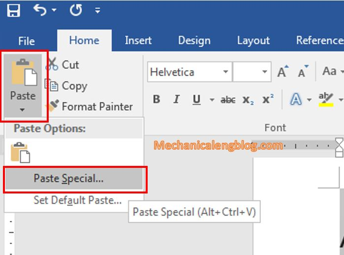 Convert a Word file to image by paste special picture in Word 2