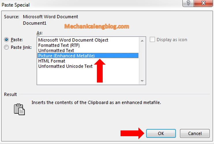 Convert a Word file to image by paste special picture in Word 3