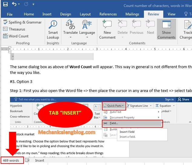 Count number of characters in Word documents 0