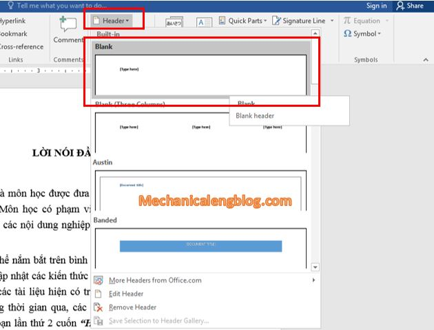 Create header and footer in word by text 2