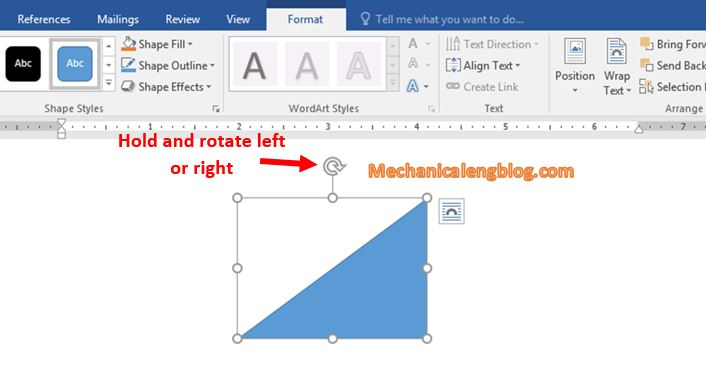 Rotate shapes in Word 1