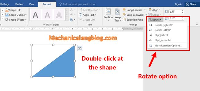 Rotate shapes in Word 2