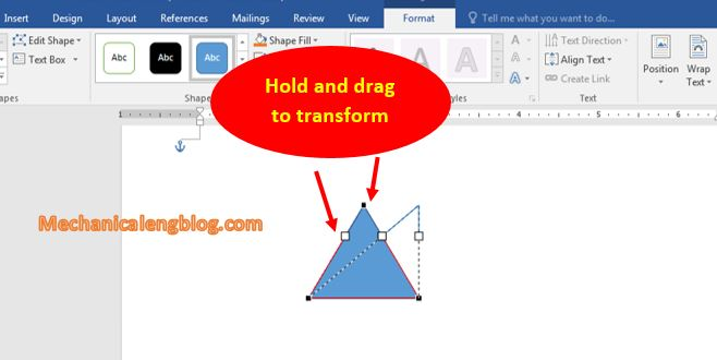 Transform shape in word 3