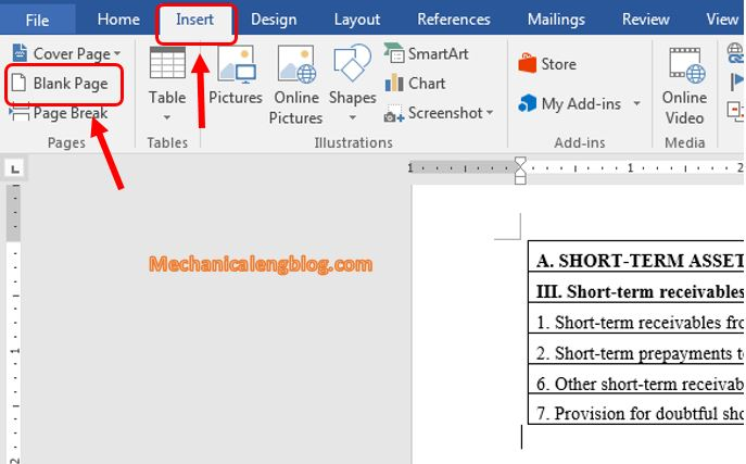 add a new blank page in Word 2