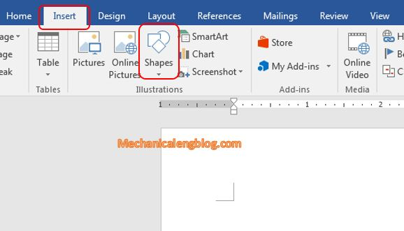 draw shapes in Word 1