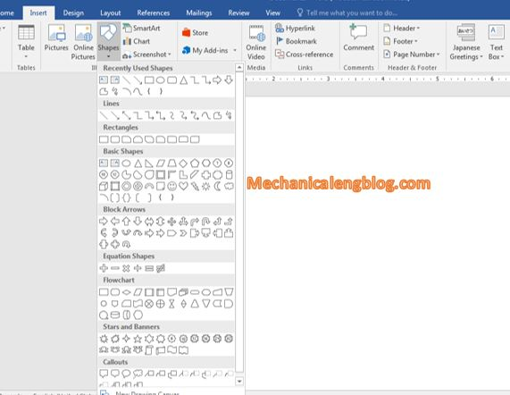 draw shapes in Word 2