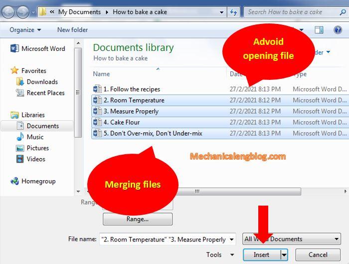 merge multiple word document file 3