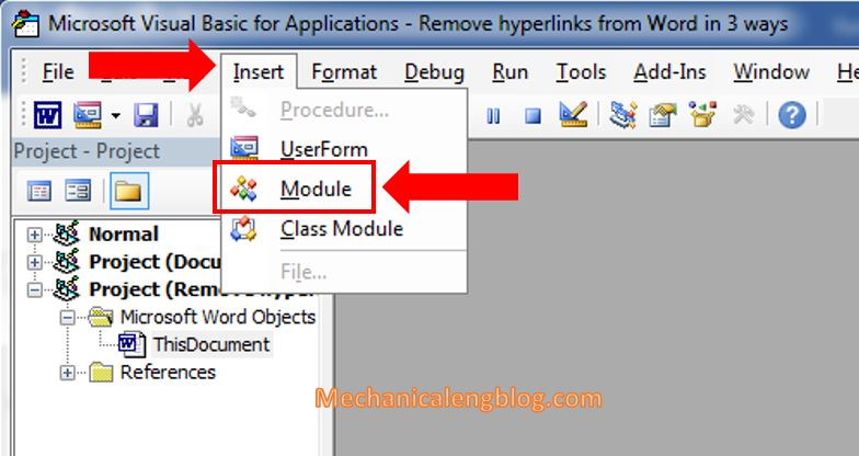 remove hyperlinks in word document by Visual Basic 2