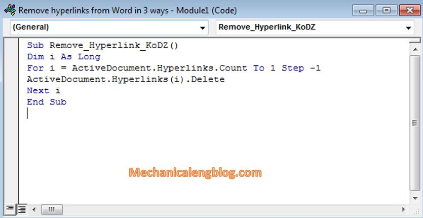 remove hyperlinks in word document by Visual Basic 3