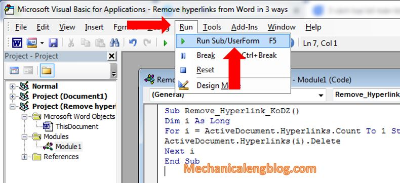 remove hyperlinks in word document by Visual Basic 4