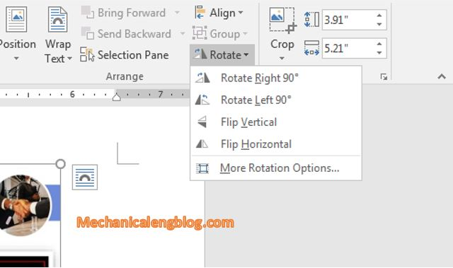 rotate image in Word 4