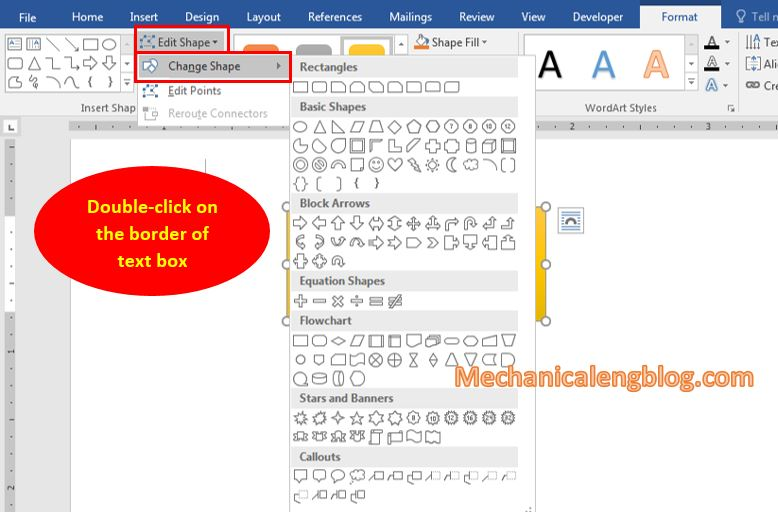 Change the shape of the Text Box box in Word 1