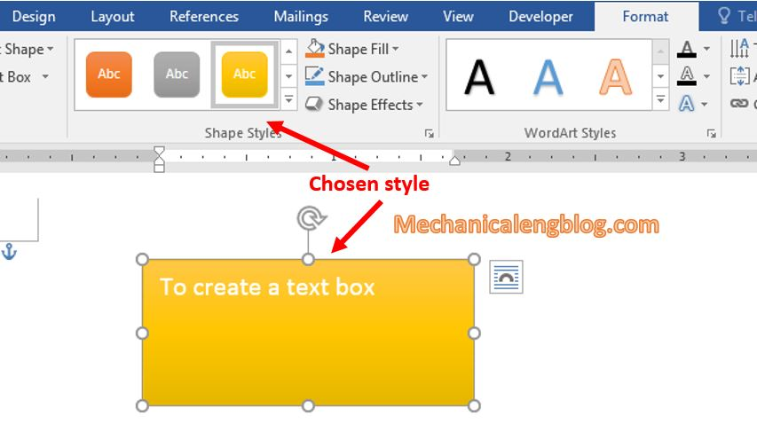 Change the text box color in Word 3