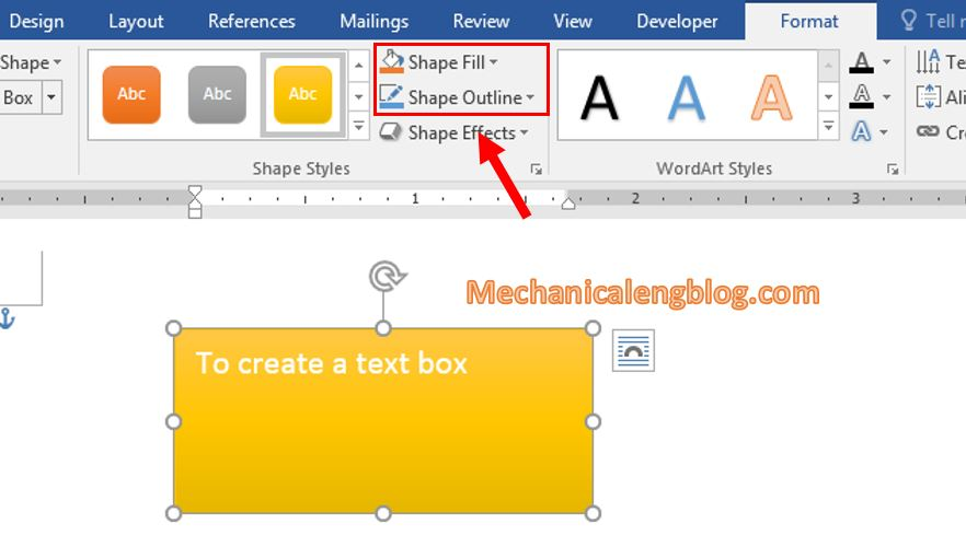 Change the text box color in Word 4
