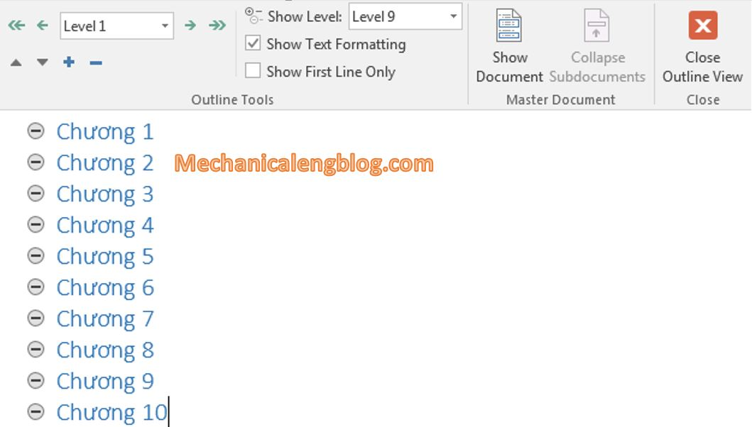 Create a Master Document in word 3
