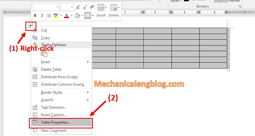 Create a calendar in Word manually 3
