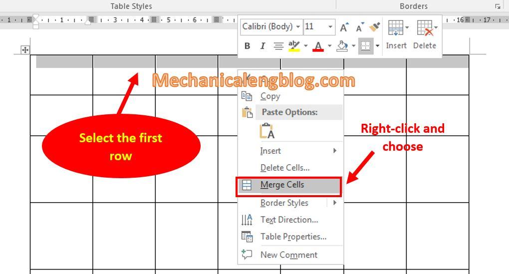 Create a calendar in Word manually 6