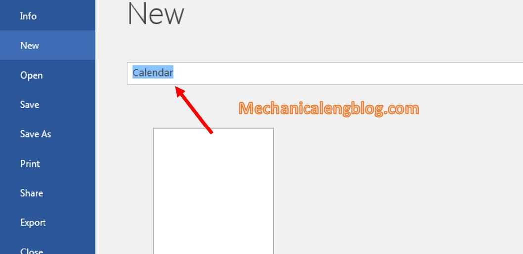 Create a calendar using available templates 1