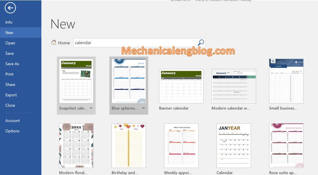 Create a calendar using available templates 2