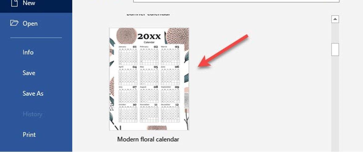 Create a calendar using available templates 3