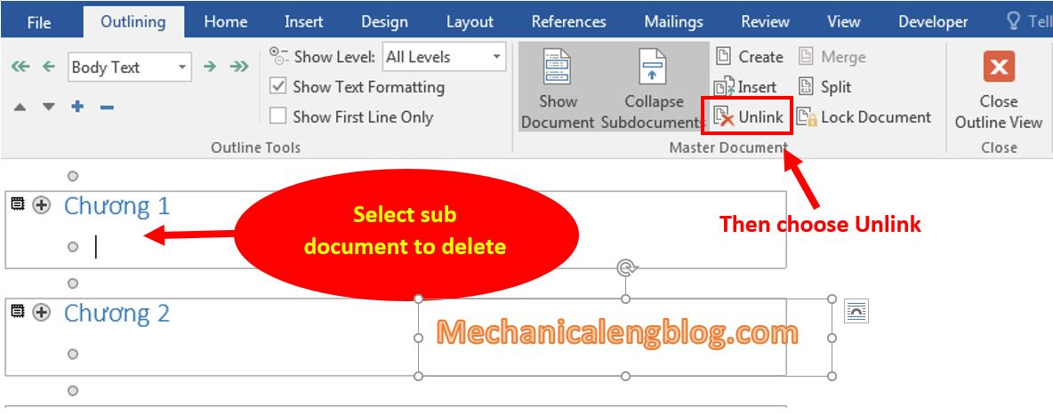 Delete links between Master Document files and Sub Document files