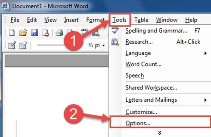Disables recently opened files in Word 4