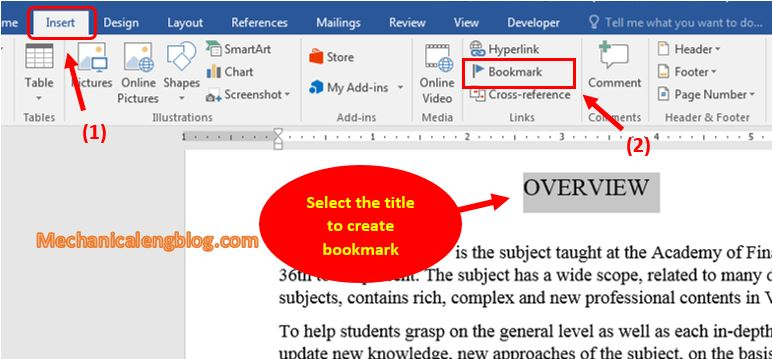 How to add bookmark in Word 1