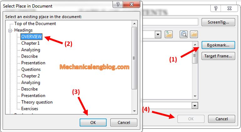 How to add menu bookmark and Hyperlink link in Word 2